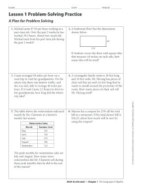 Lesson 1 Problem Solving Practice A Plan For Problem Solving