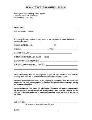 Tenant notice to vacate forms and templates fillable printable tenant vacating notice 28 days boxdice thecheapjerseys Image collections