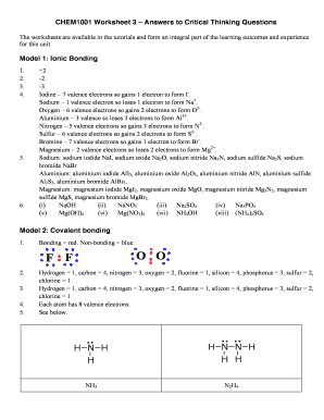 Chem1001 Worksheet 3 Ionic And Covalent