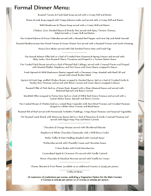 fillable online tauntonvalegolf co formal dinner menu