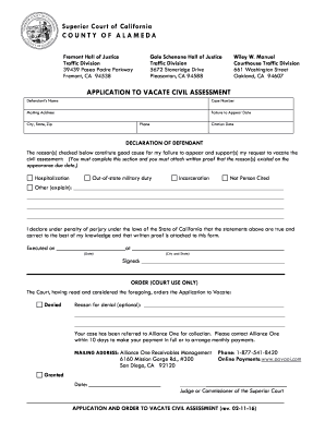 Fremont Traffic Court >> Fillable Online Alameda Courts Ca Application To Vacate
