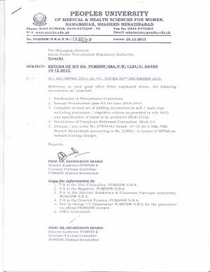 Fillable Online pumhs edu Tender Financial tender form for DPT
