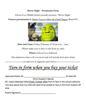 movie permission slip middle school - Edit, Print & Download