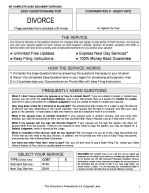 Printable copy of divorce papers ny fill out download forms nseqdivorcec my complete case document services easy questionnaire for confirmation agent info divorce 7 pages estimated time to completed is 20 solutioingenieria Image collections
