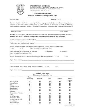 Student Evaluation Form - St. Mary's Academy & College