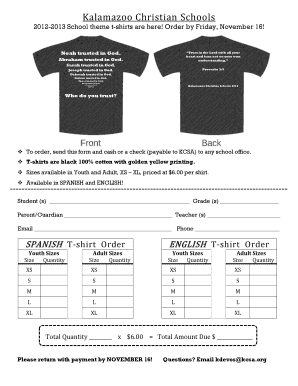 Fillable online kcsa 2012 2013 theme t shirt order form for T shirt printing kalamazoo