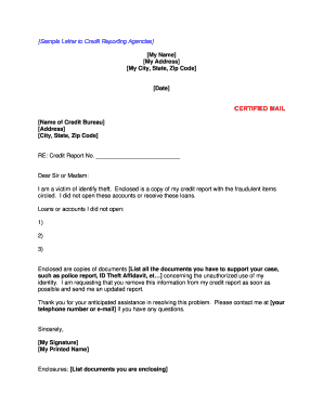 11 Printable identity theft affidavit sample letter Forms and