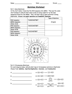 Mutations Worksheet Answers - Fill Online, Printable ...