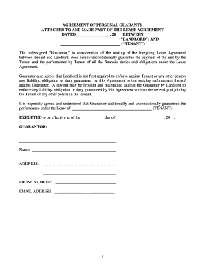 Superior Personal Guarantee Lease Agreement Form