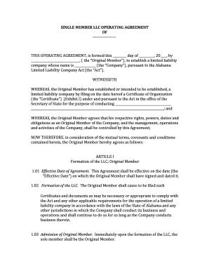 Editable Single Member Llc Operating Agreement Short Form