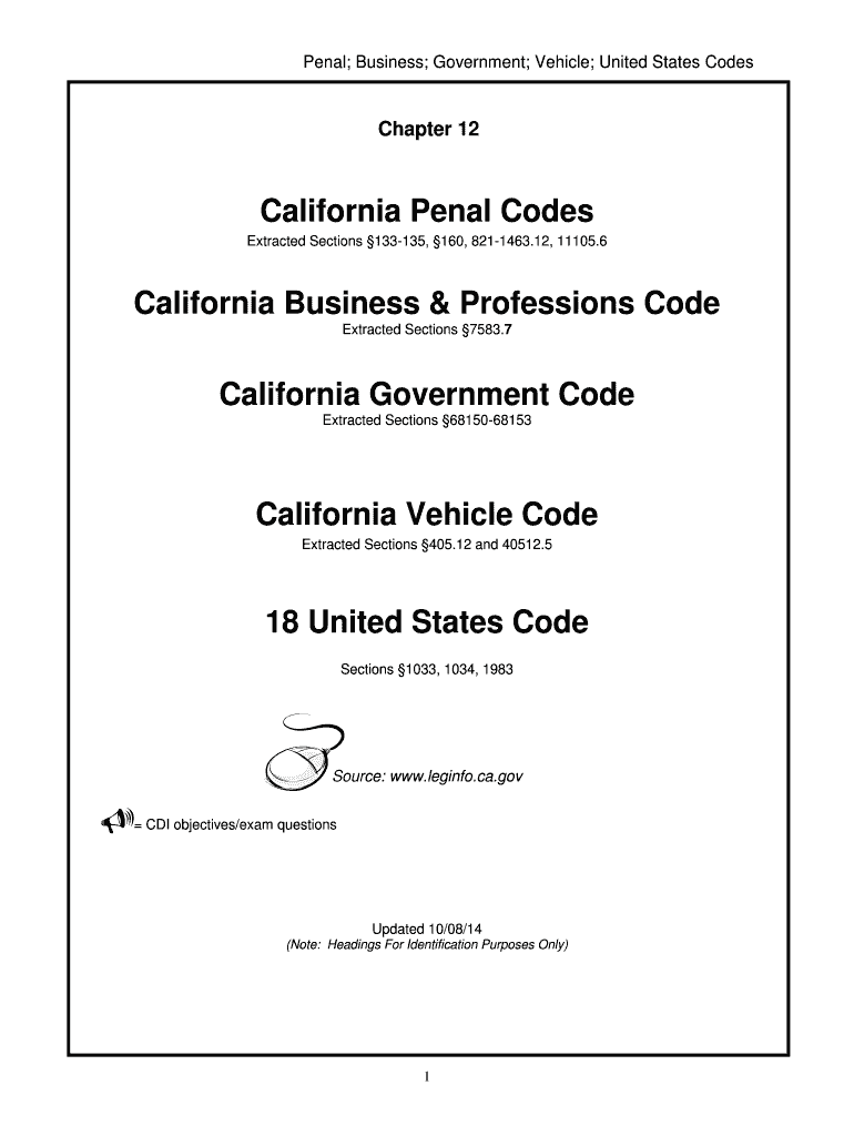 California Penal Codes California Business amp Professions