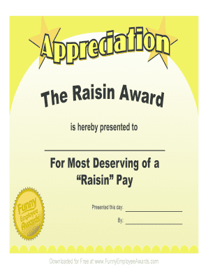 Certificate of Appreciation - Free Printable Certificates Awards Templates Buy more funny certificates at wwwFunnyEmployeeAwardscom