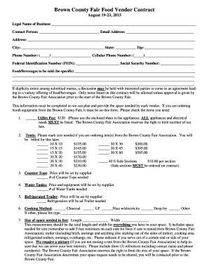 Brown County Fair Food Vendor Contract   Brown County Fair, WI  Food Vendor Contract