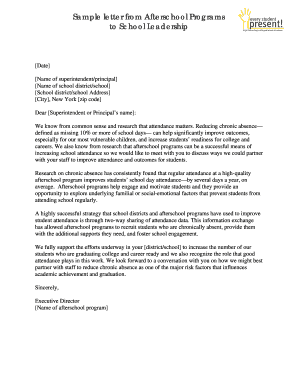 Sample letter from Afterschool Programs to School Leadership