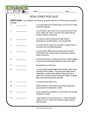 finance in the classroom Fillable Online Dow jones pop quiz - Finance in the Classroom Fax ...