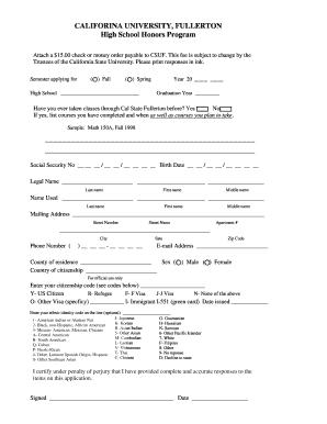 High School Honors Application - formsfullertonedu