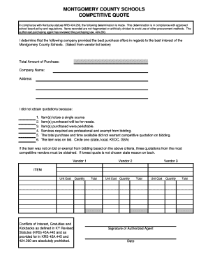 Competitive Quote Form - Montgomery County Schools