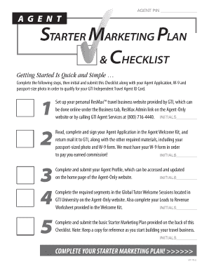 BAGENTb PIN bAGENTb STARTER MARKETING PLAN CHECKLIST