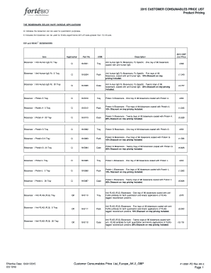 2015 CUSTOMER CONSUMABLES PRICE LIST Product Pricing ...
