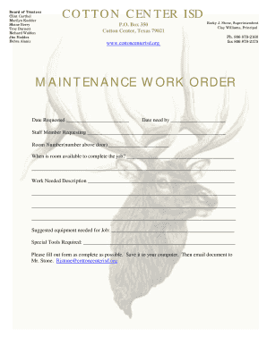 Maintenance Work Order Form - Cotton Center ISD