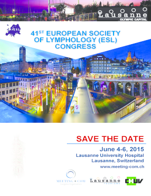Meeting CHUV Lymphology save the date registration - eurolymphology
