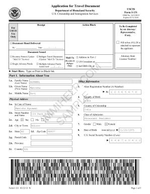 I 131 Uscis - Fill Online, Printable, Fillable, Blank | PDFfiller