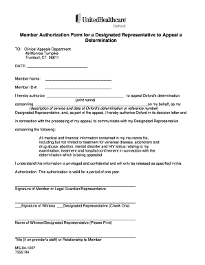 Fillable Online Member Authorization Form for a Designated ...