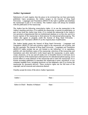 Elsevier Author Agreement Form