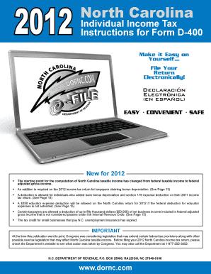 Fillable Online 2012 North Carolina Individual Income Tax ...