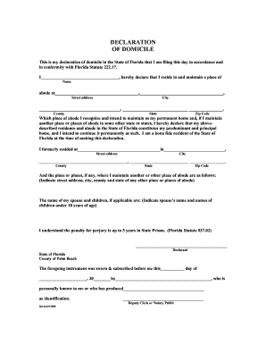 2008 Form FL Declaration of Domicile Fill Online, Printable ...