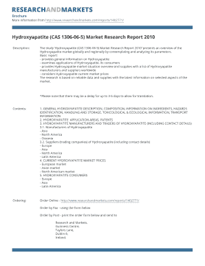 Hydroxyapatite (CAS 1306-06-5) Market Research Report 2010