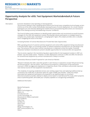 Opportunity Analysis for xDSL Test Equipment Markets&mdashA Future