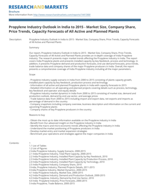 Propylene Industry Outlook in India to 2015 - Market Size, Company Share,