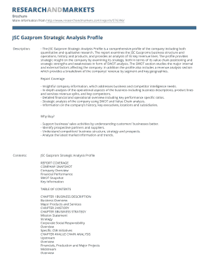 JSC Gazprom Strategic Analysis Profile - Research and Markets