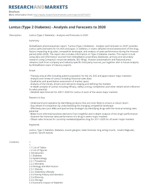 Lantus (Type 2 Diabetes) - Analysis and Forecasts to 2020