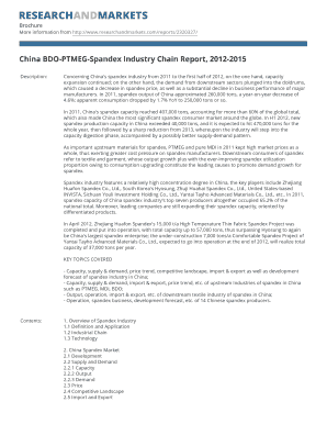 China BDO-PTMEG-Spandex Industry Chain Report, 2012-2015