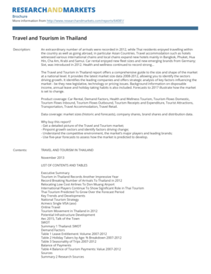 com/reports/64081/ Travel and Tourism in Thailand Description: In 2011 Thailand posted strong growth in arrivals, in particular from China and Russia and received a large number of tourists from Malaysia, China and Japan