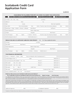 fillable online scotiabank credit card application form q4 act