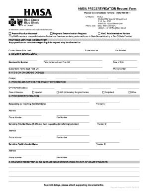 Fillable Online HMSA PRECERTIFICATION Request Form - HMSA.com Fax ...