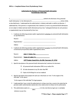 Hipaa Release Form Psychotherapy Notes - Fill Online, Printable ...