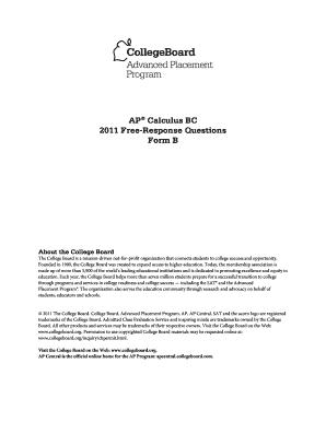 Ap Calculus Bc 2011 Form B Free Response - Fill Online, Printable ...