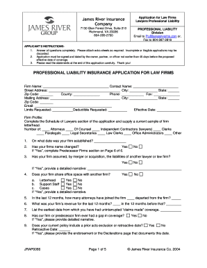 james river professional liability policy form