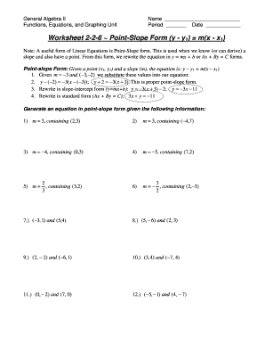 Printables Point Slope Form Worksheet worksheet 2 6 point slope form answers fill online printable answers