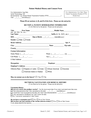 Patient Medical History and Consent Form