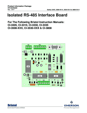 PIP-ISORS485 - Isolated RS-485 Interface Board Product Information Package for CI-3305, CI-3308-XXX, Ci-3310, CI-3330, CI-3335, CI-3508-10X, CI-3508-30X & CI-3530-XXX. Isolated RS-485 Interface Baord - Product Information Package
