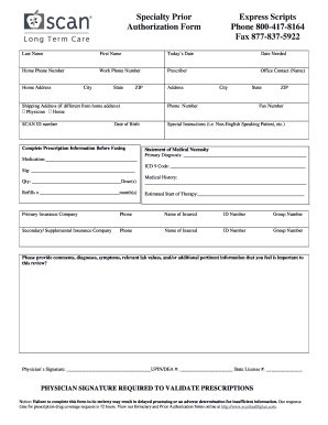 Cigna Express Scripts Prior Authorization - Fill Online, Printable on