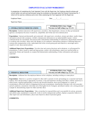EMPLOYEE EVALUATION WORKSHEET - West Wendover