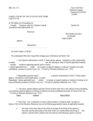 Fillable Online DRL Art. 5-A Form UCCJEA-1 (Petition-Custody ...