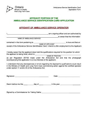 Fillable Online Ambulance Service Operator - Affidavit pdf