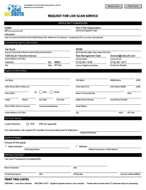 Fillable Online Request for Live Scan Service Form - Cal South Fax ...